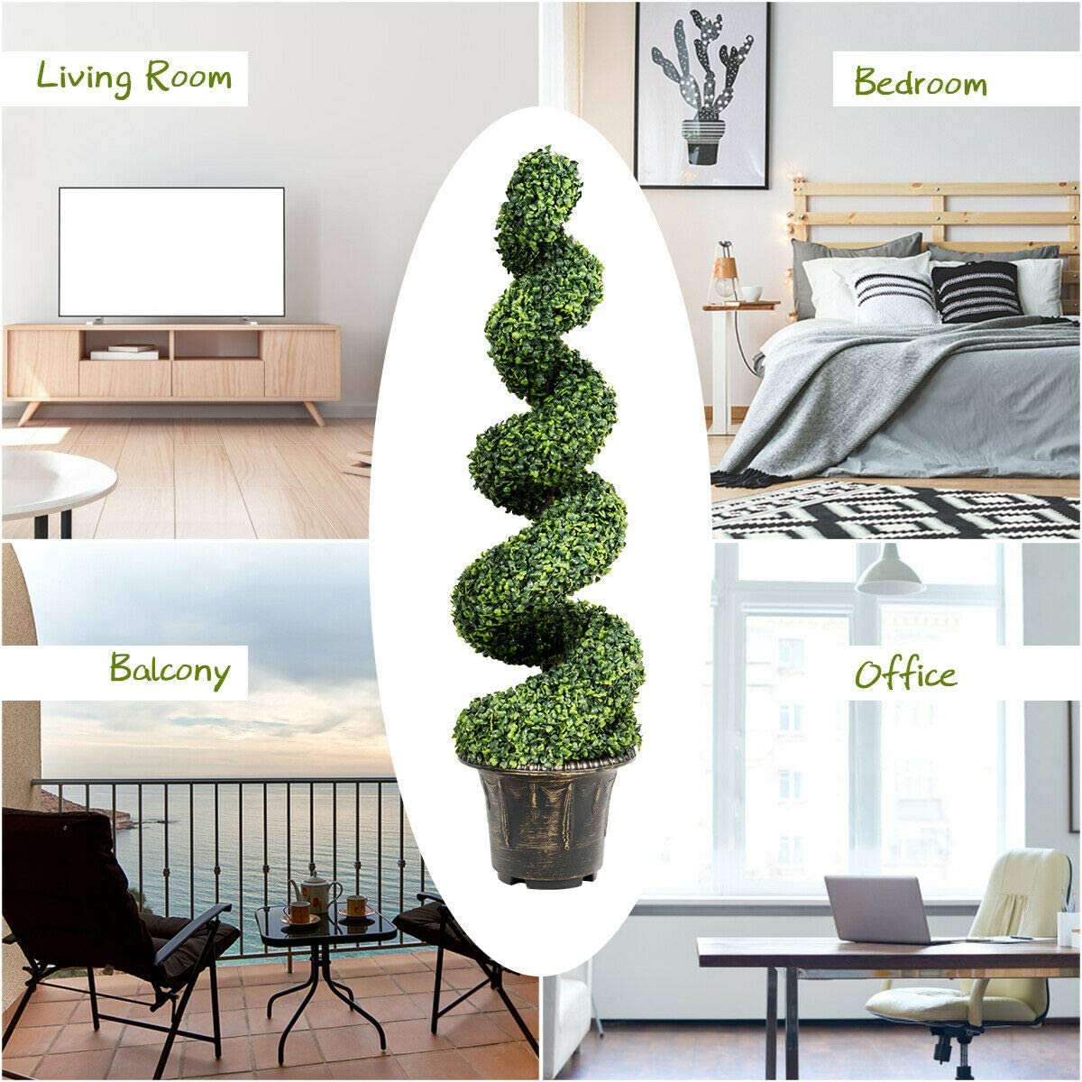 Faux Tree with Realistic Leaves and Nursery Pot Fake Greenery Tree for Indoor and Outdoor DORTALA 4 FT Artificial Boxwood Spiral Tree