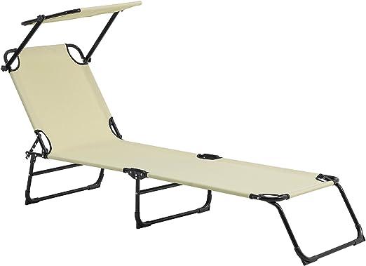 casa.pro] Tumbona plegable 190cm beige con techo - acero - hamaca de playa, para jardín, silla reclinable piscina: Amazon.es: Jardín