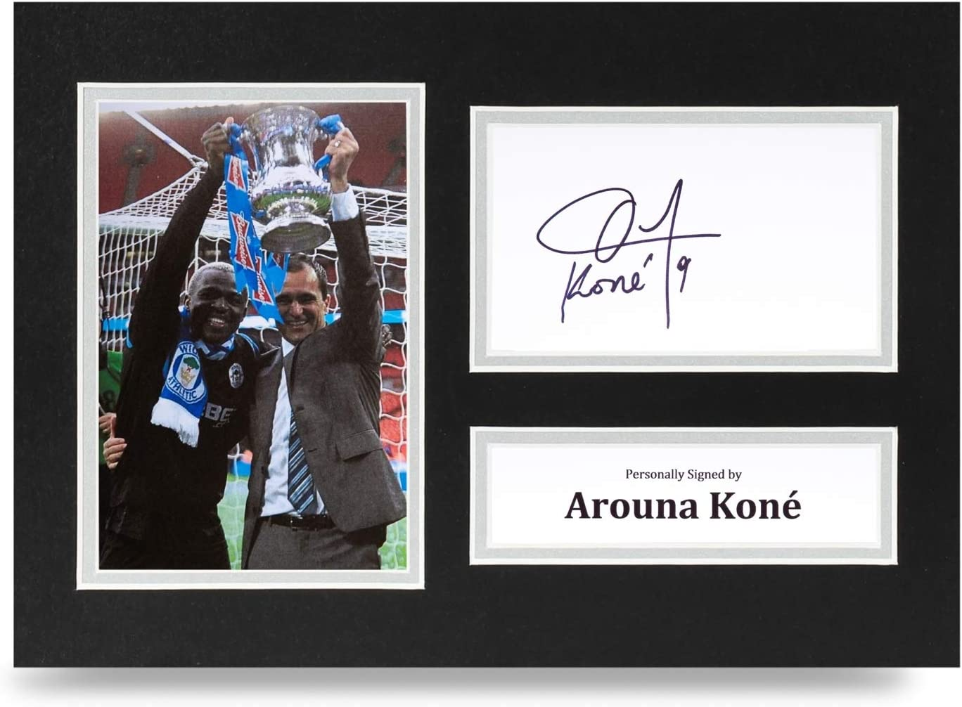 COA Arouna Kone Signed A4 Photo Display Wigan Athletic Autograph Memorabilia