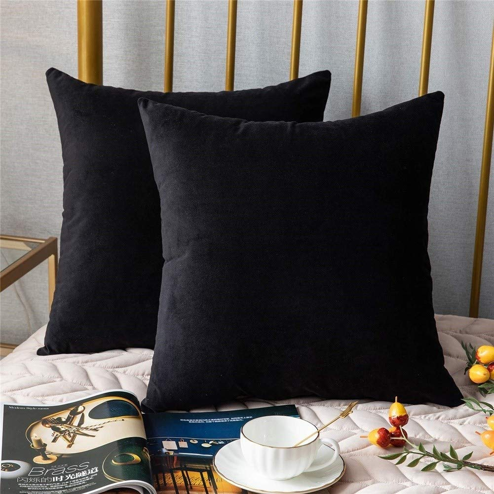 Yh9u Pack of 2, Velvet Soft Soild Decorative Square Throw Pillow Covers Set Cushion Case for Sofa Bedroom Car (Color : Black, Size : 55 X 55 cm) by Yh9u