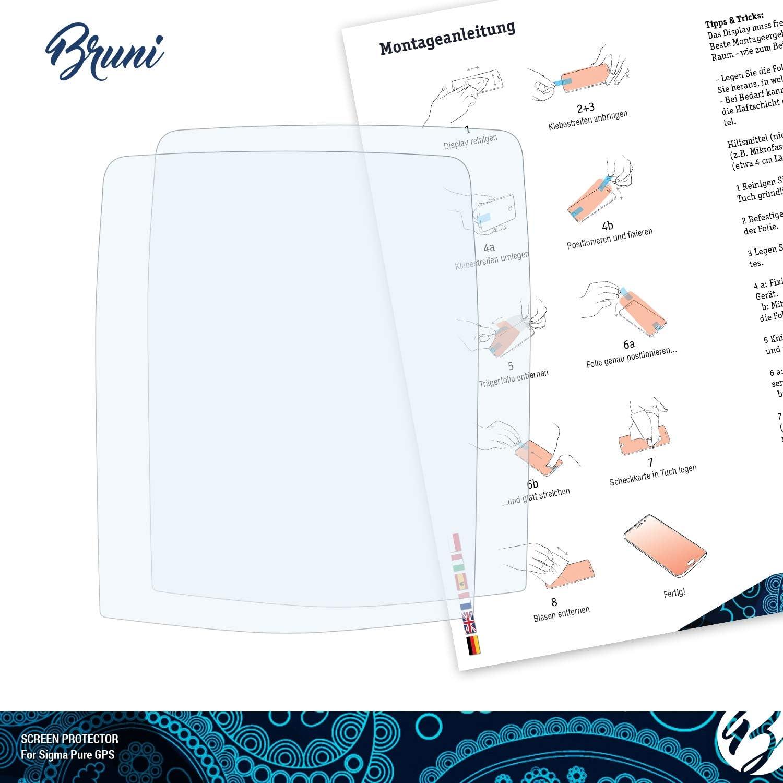 2X glasklare Displayschutzfolie Bruni Schutzfolie kompatibel mit Sigma Pure GPS Folie