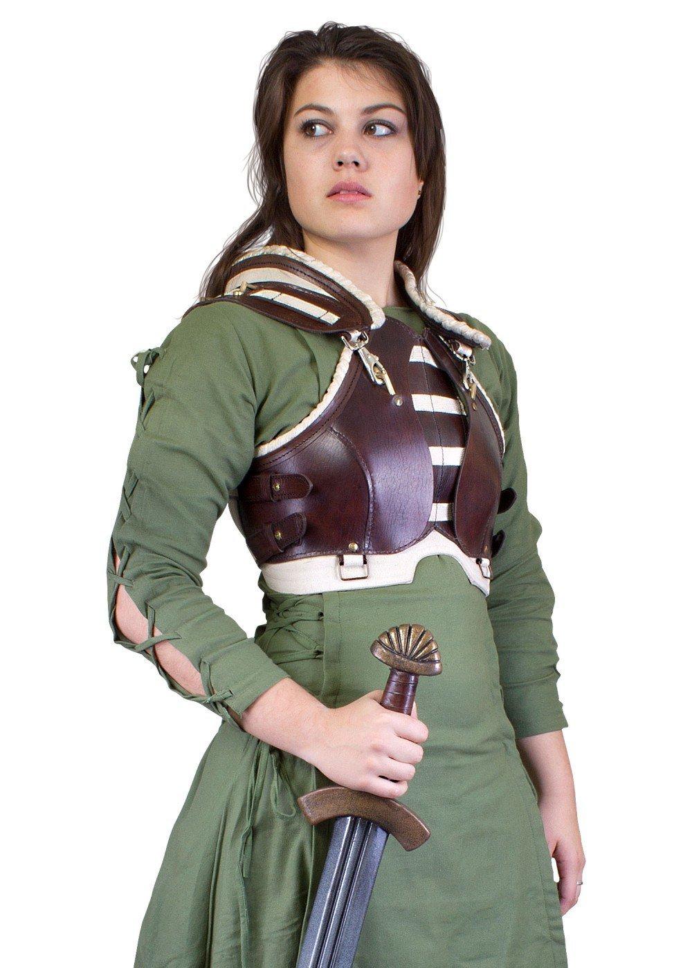 Mittelalterliche Frauenrüstung Rogue LARP-Lederrüstung Einheitsgröße Schaukampf Damen Brustpanzer Wikinger