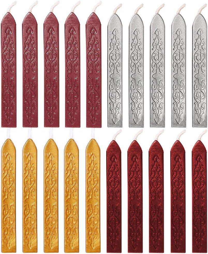 Couleur or 12 Pi/èces B/âtons de Cire /à Cacheter avec M/èches Antique Cire d/Étanch/éit/é pour Manuscrit de Feu pour Timbre de Cachet de Cire