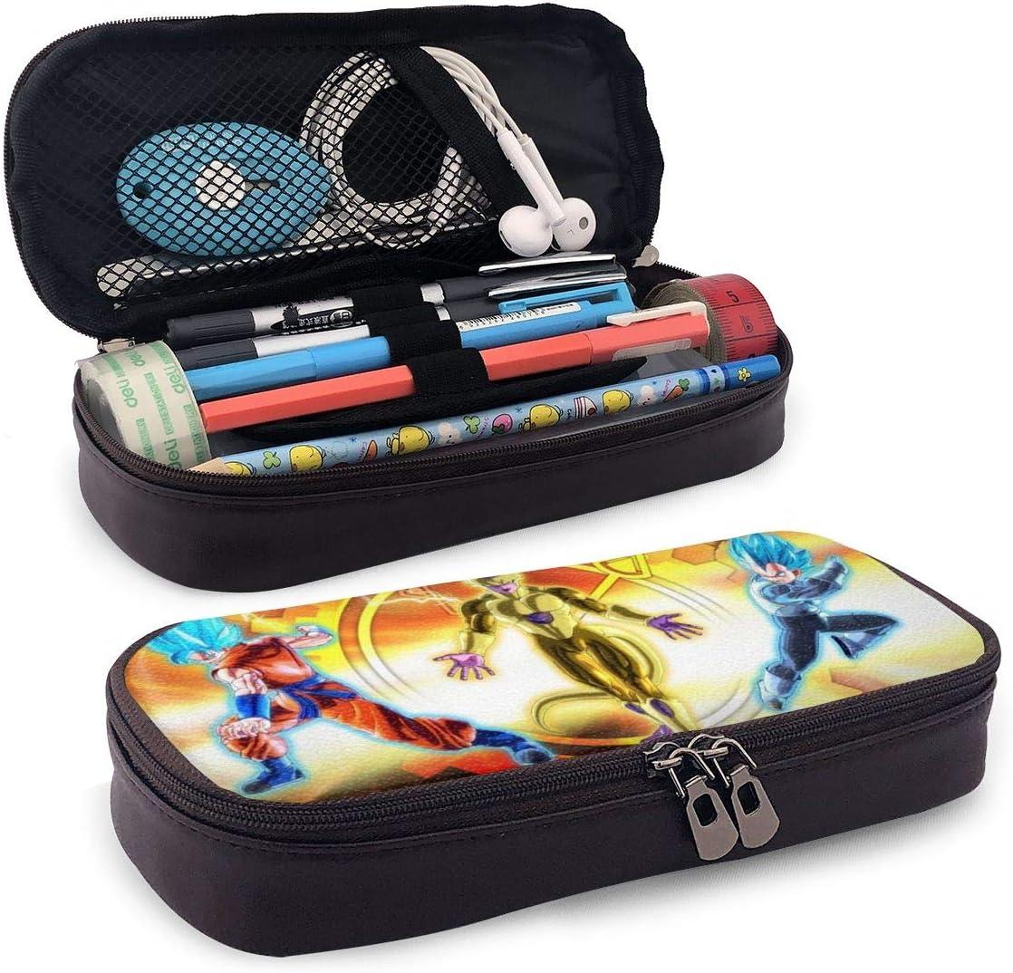 PKLUAS - Estuche para lápices (Impermeable, con Doble Cremallera, 20 x 9 x 3,8 cm), diseño de Bola de dragón, PU, Negro, Talla única: Amazon.es: Hogar