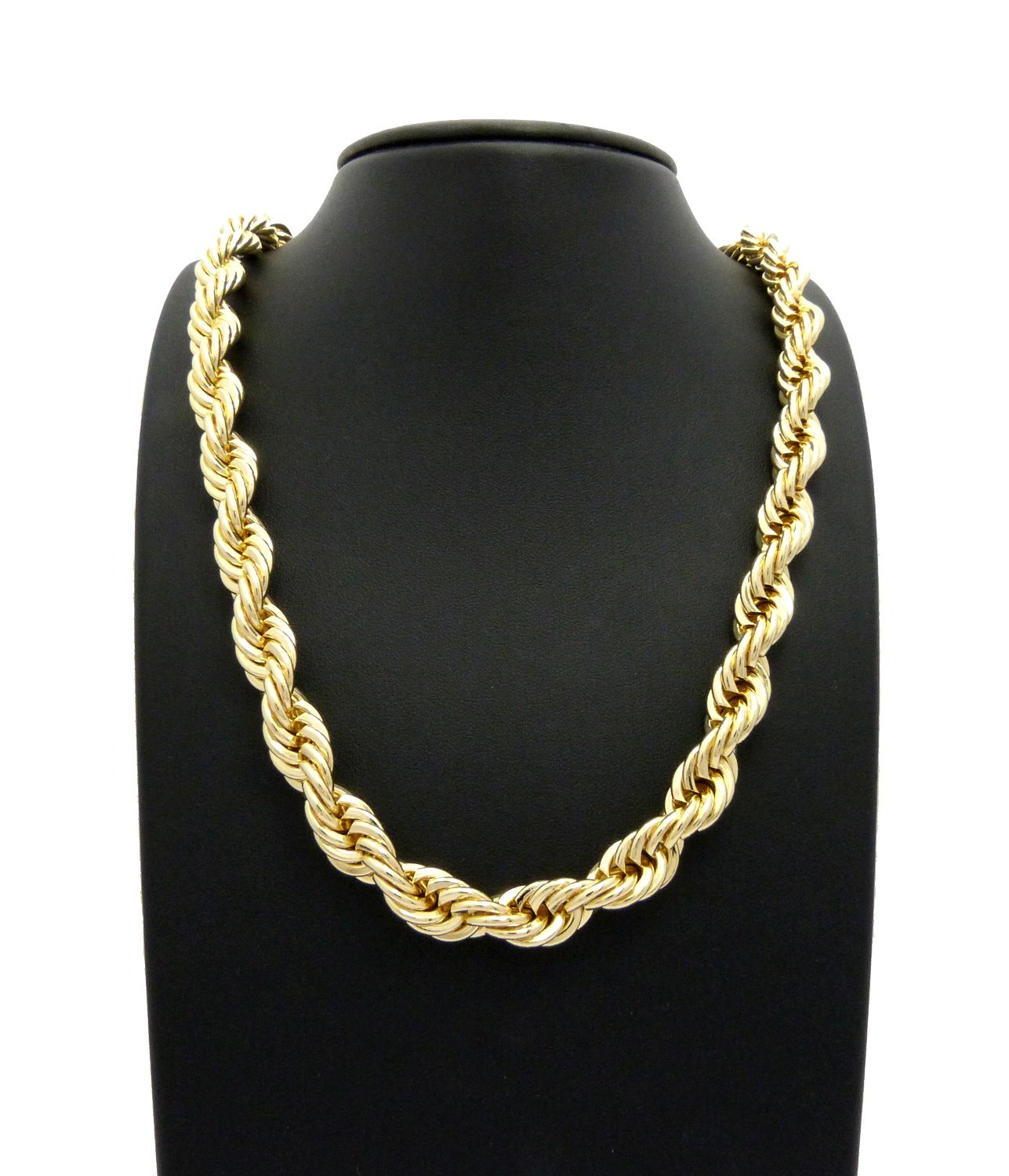 Fashion 21 Hip Hop 80' Unisex Rapper's 8, 10, 12mm Hollow Rope Chain Necklace in Gold, Silver Tone RC2421G