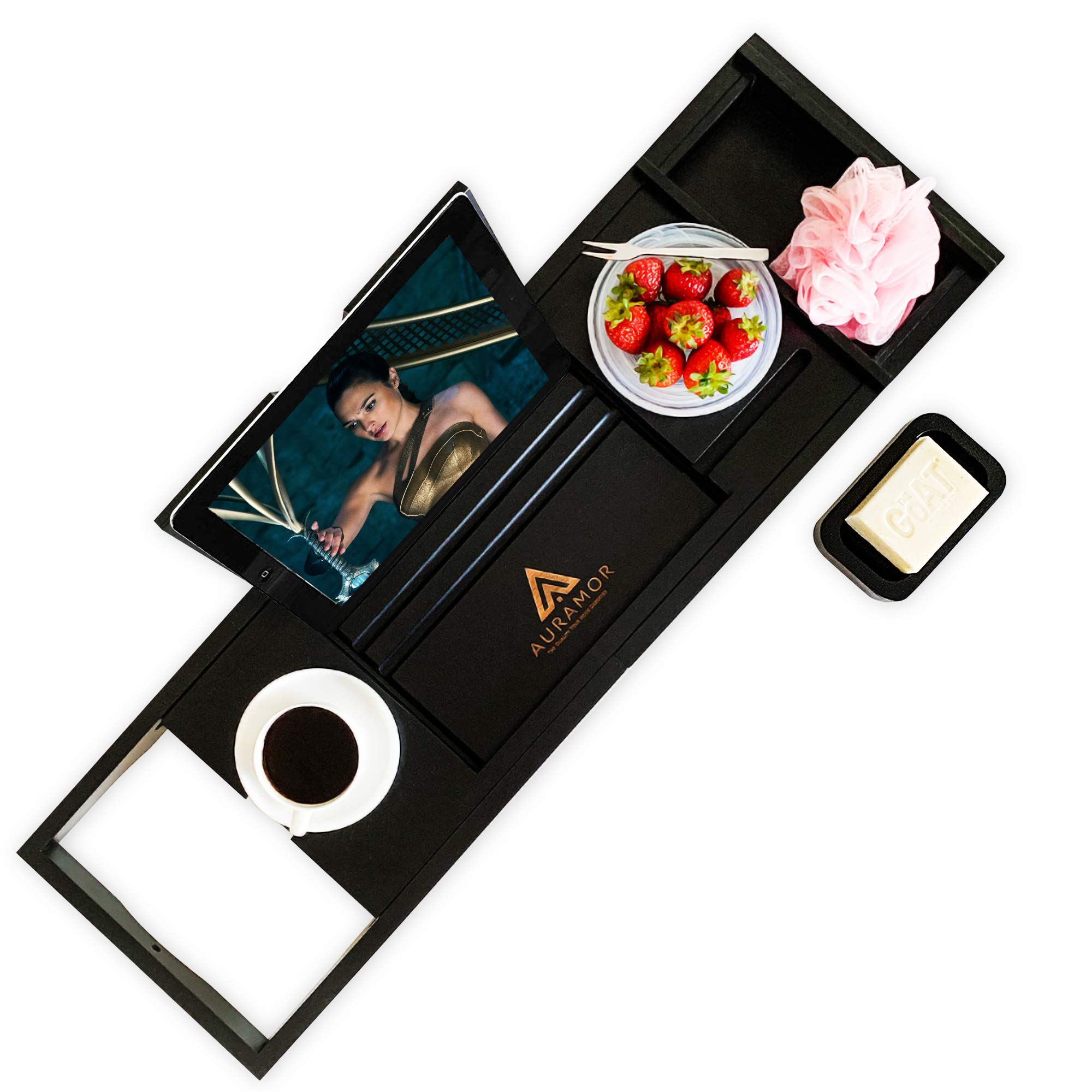 Auramor Bamboo Bathtub Tray Caddy w/Hair Turban (Black) Wide, Expandable Luxury Bath   Wine, Book, Tablet, Soap Holder   Non-Slip Rubber   Suction Cups