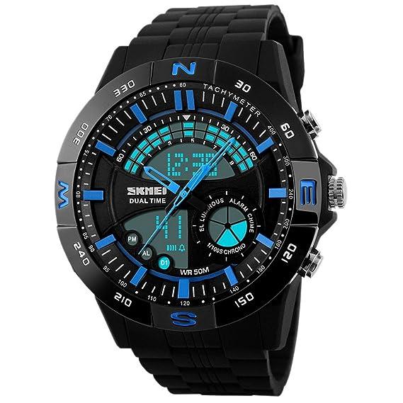 Panegy - Reloj Digital Deportivo con Doble Horarios y Múltiples Funciones 6ATM para Hombres-Color Azul: Amazon.es: Relojes