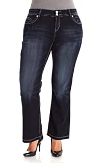 6092302ef38f8f WallFlower Women's Plus Size Luscious Curvy Stretch Bootcut Denim Jeans