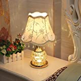 Simple Modern European Table Lamp, Double Light Source Decorative Lights, Small Night Light, Living Room Bedroom Glass Bedside Lamp ( Color : Gold )