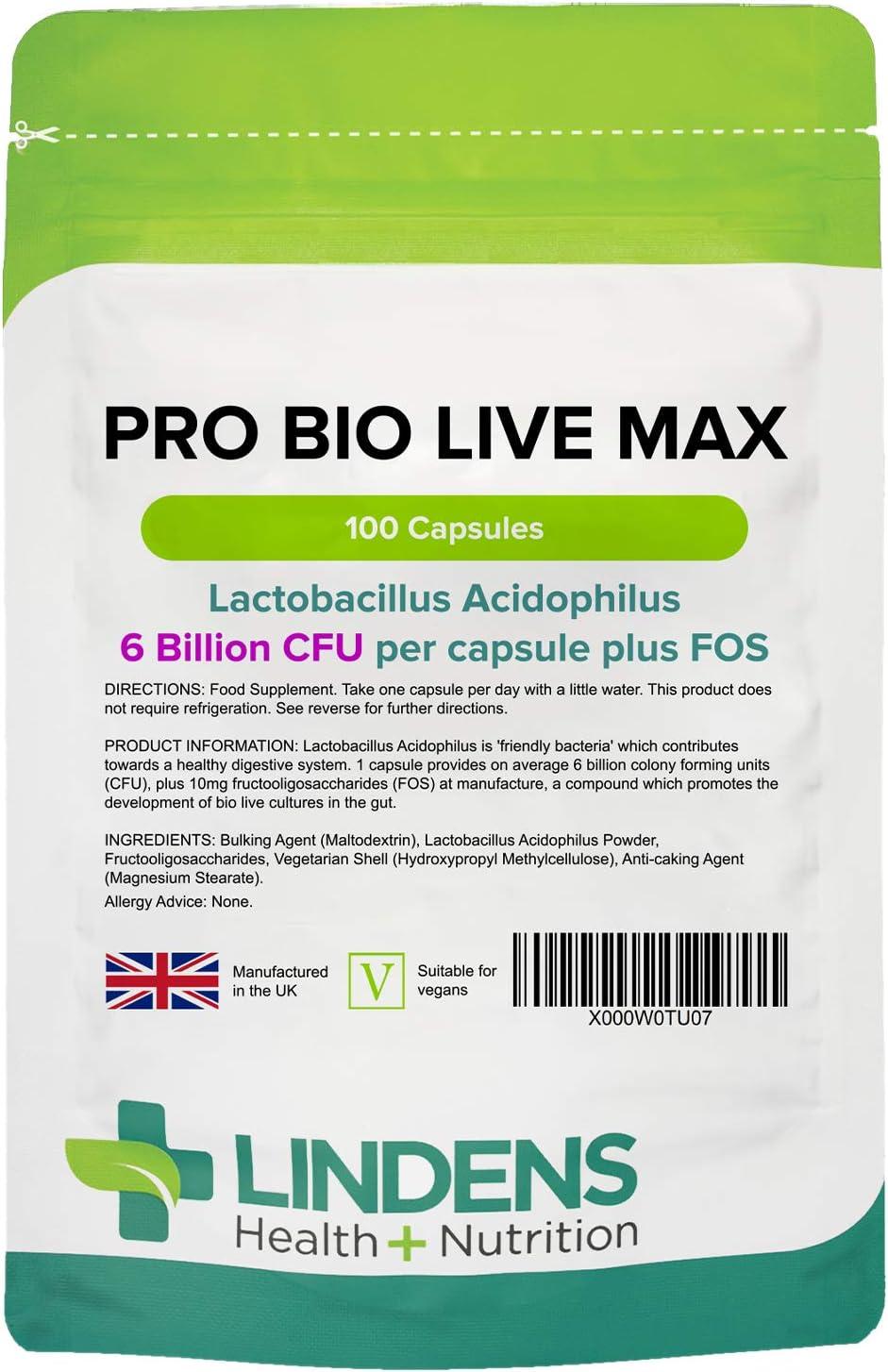 Lindens Probiótico MAX 6bn cápsulas paquete de 100GB Fabricante