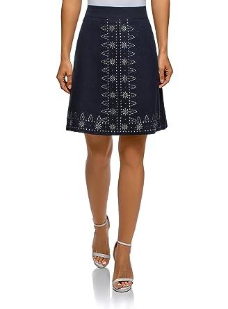 ae8022d3983d oodji Ultra Femme Jupe en Lin avec Motif Ethnique de Strass  Amazon.fr   Vêtements et accessoires