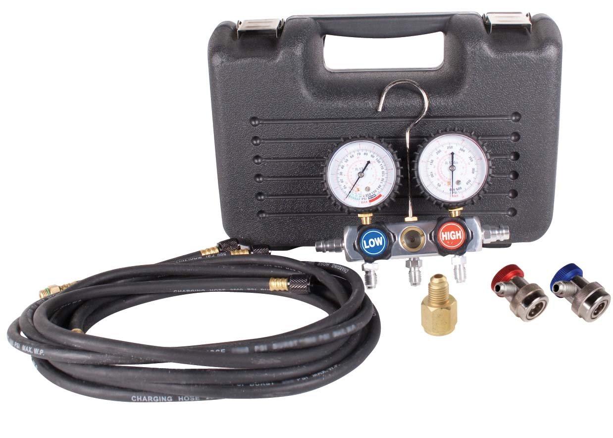 FJC 6750 Black/Chrome Aluminum Manifold Gauge Set