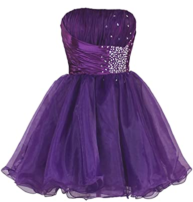 FairOnly Girls Short Home Prom Dress M3 - Purple - Small