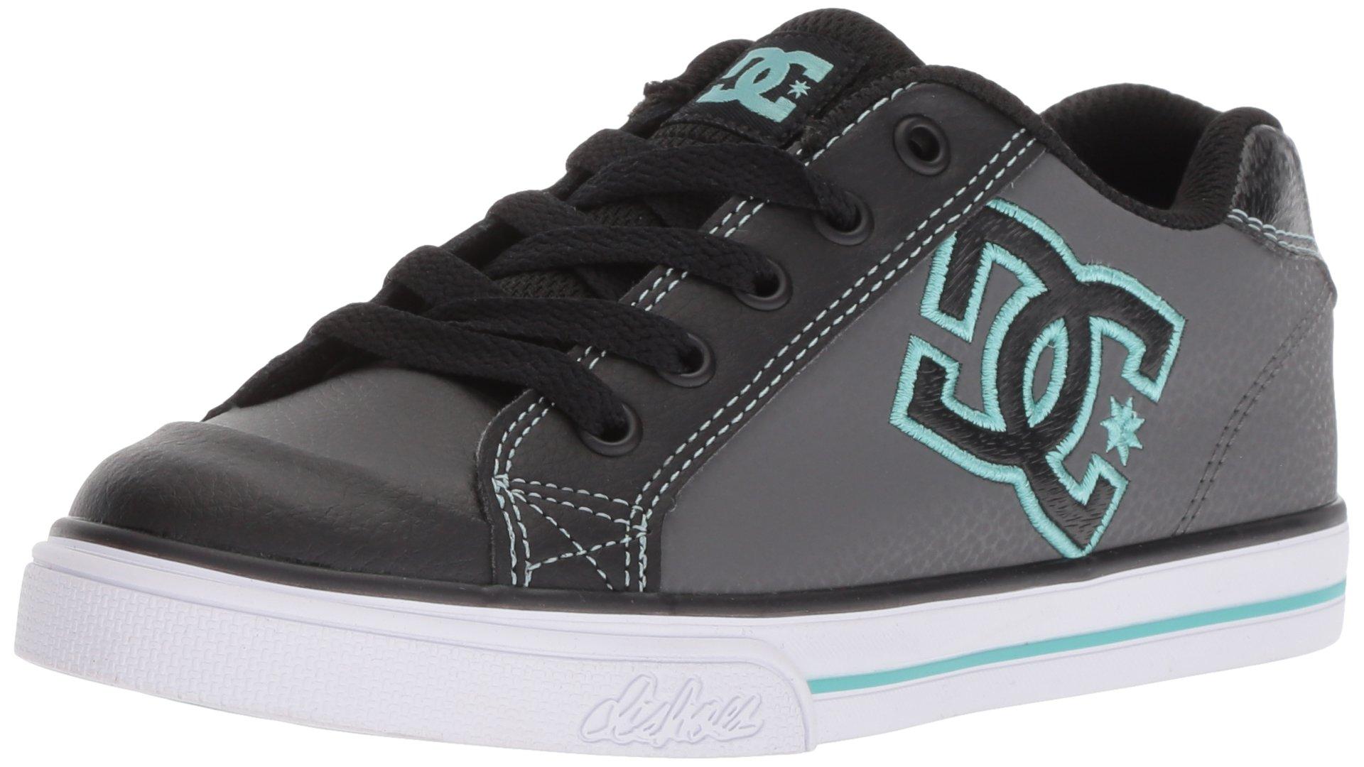 DC Girls' Chelsea Skate Shoe Black/Aqua 1 M US Little Kid
