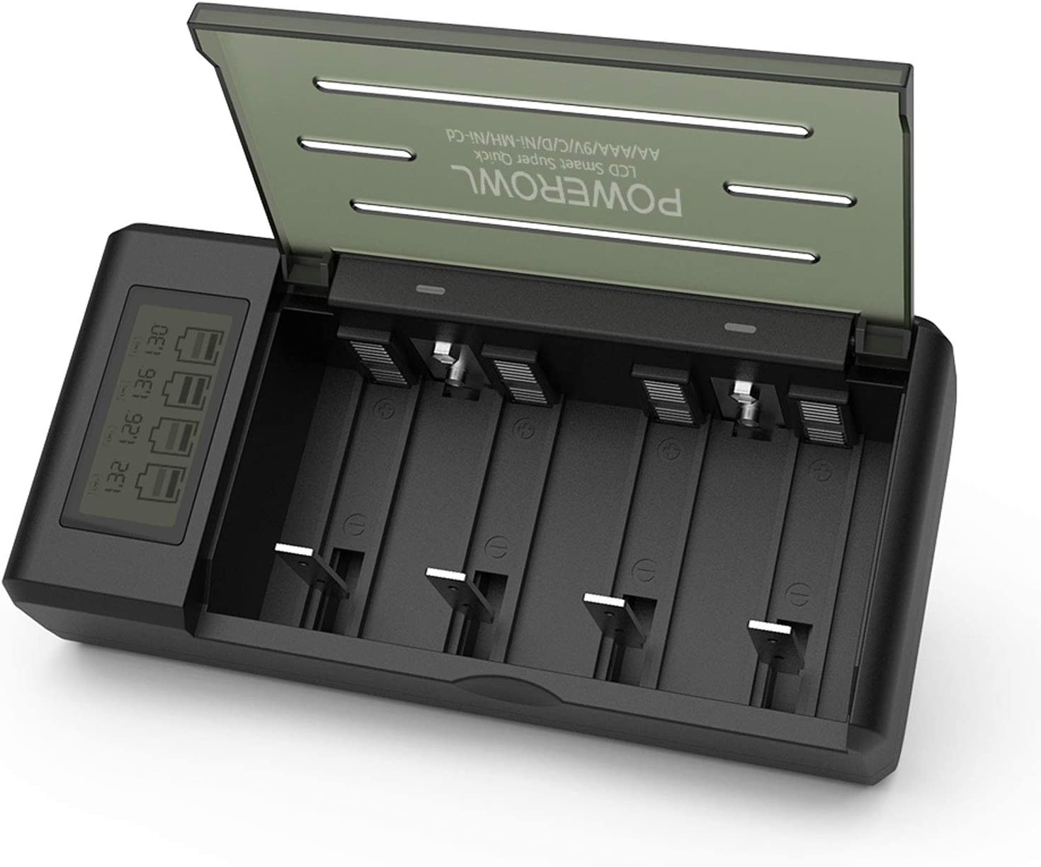 Powerowl Universal Battery Charger with LCD Large Screen (Recharge Pro, 3 Data Visualizations), for AA, AAA, C, D, 9V Ni-MH Ni-CD Rechargeable Batteries