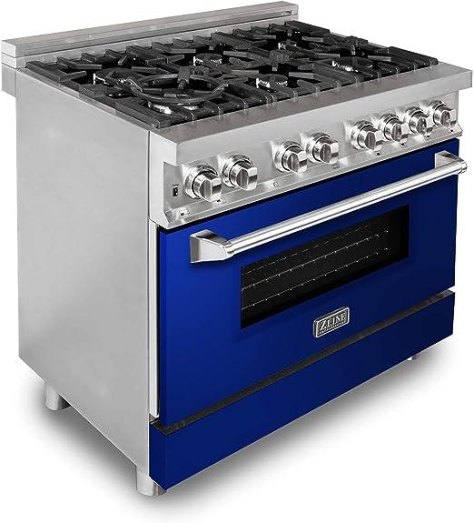 RA-BG-30 Professional Dual Fuel Range with Blue Gloss Door ZLINE 30 in