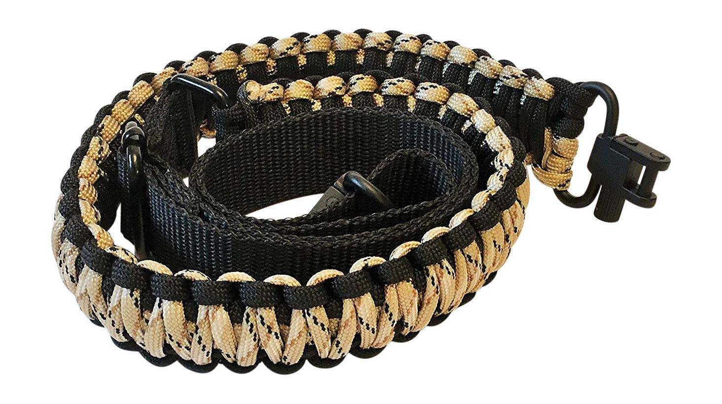 Ten Point Gear Gun Sling Paracord 550 Adjustible w/Swivels (Multiple Color Options) (Black & Tan Camo) by Ten Point Gear