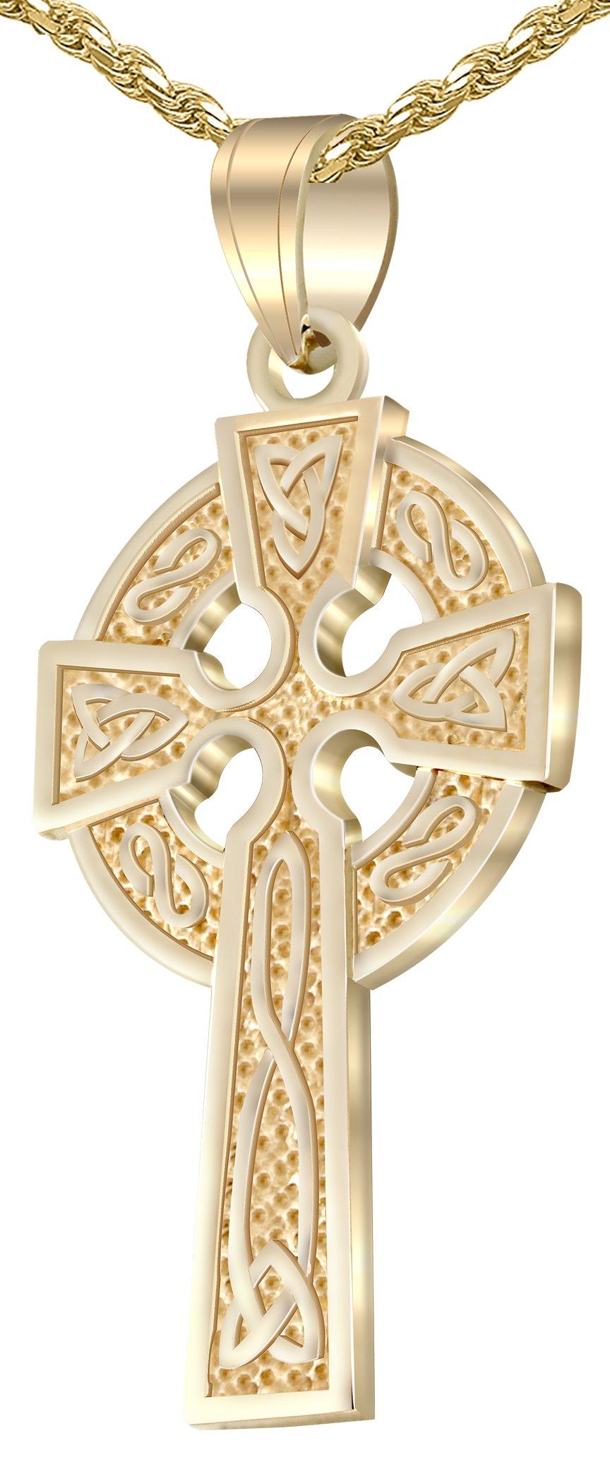 Men's 1.625'' 14k Yellow Gold Irish Celtic Knot Cross Pendant 1.75mm Rope Necklace, 18''