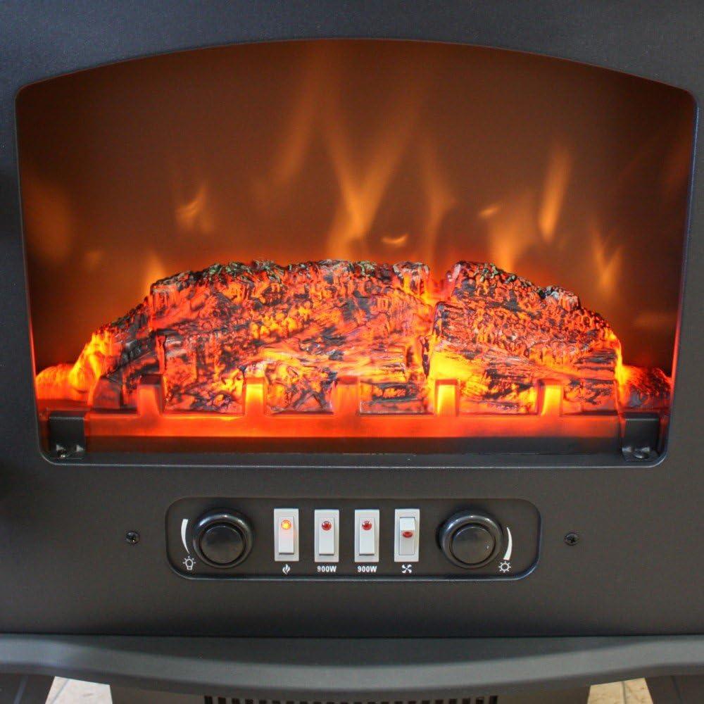 in Ferro e Vetro Effetto fiamma realistico Protezione Surriscaldamento Stanze fino a 52 m/² 750W // 1800W 2 Livelli di Riscaldamento Termostato Regolabile Bigbutterfly Camino Elettrico da Terra