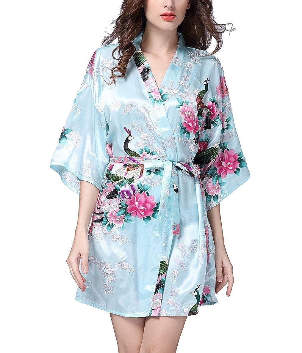 Hammia Donna Vestaglie Scollo a V Kimono Accappatoio Stampa Pavone Maniche Corto da Notte in Raso Con Cintura, Pavone Esotici, Raso Fiore. Pigiama
