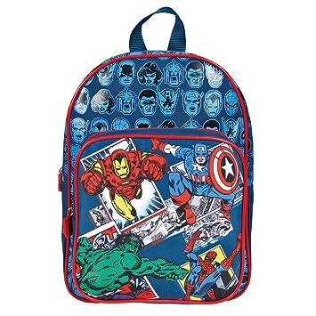 Mochila Marvel Los Vengadores para Niño - Bolso Escolar Avengers con Bolsillo Frontal de Capitán América Iron Man Spiderman y Hulk - Azul - 31x24x12 cm ...
