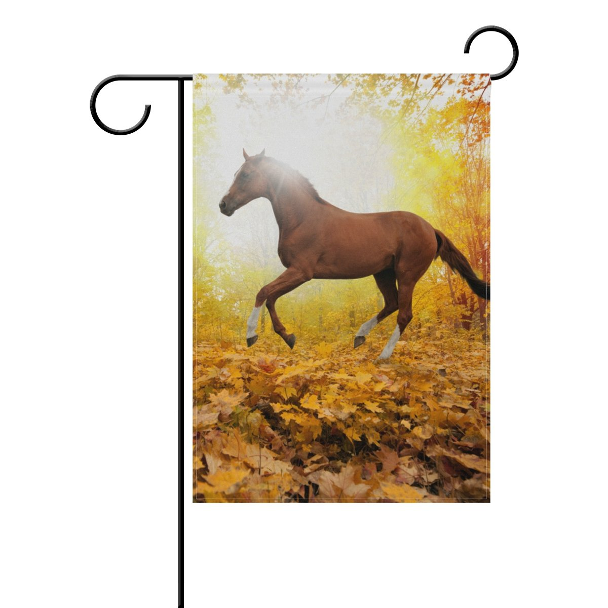 BlueViper Red Horse Running The Maple Forest Garden Flag Banner 12 x 18 Inch Decorative Garden Flag for Outdoor Lawn and Garden Home Décor Double-Sided