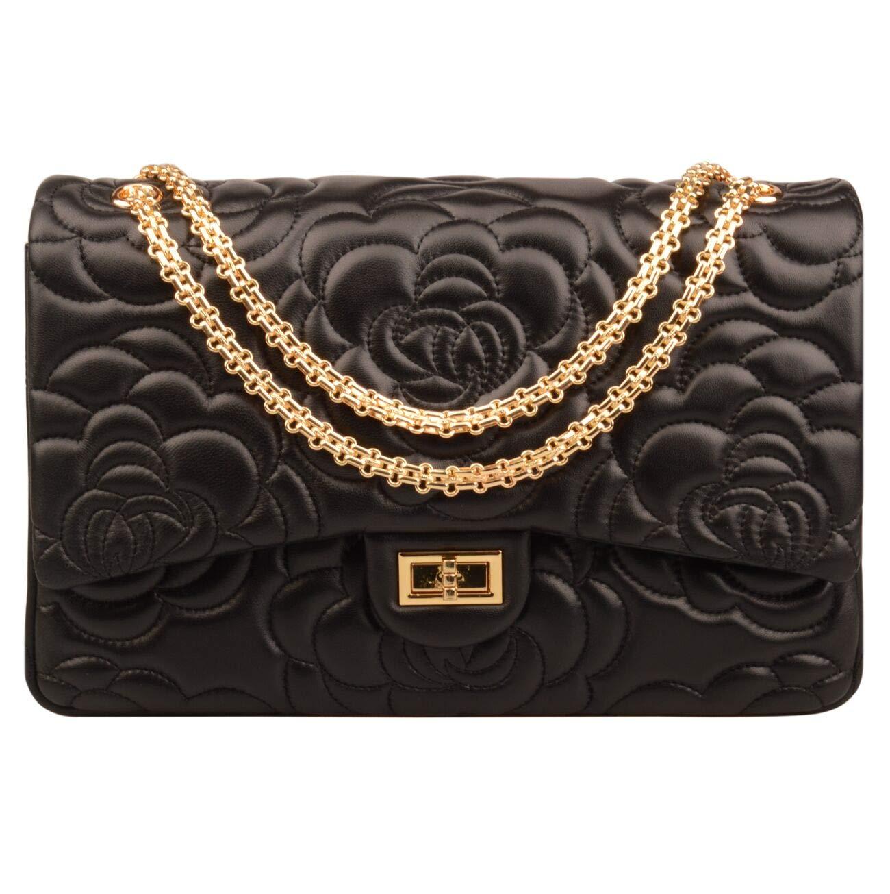 Ainifeel Women's Quilted Oversize Genuine Leather Shoulder Handbag Hobo Bag Purse (X-Large, flower black gold hardware)