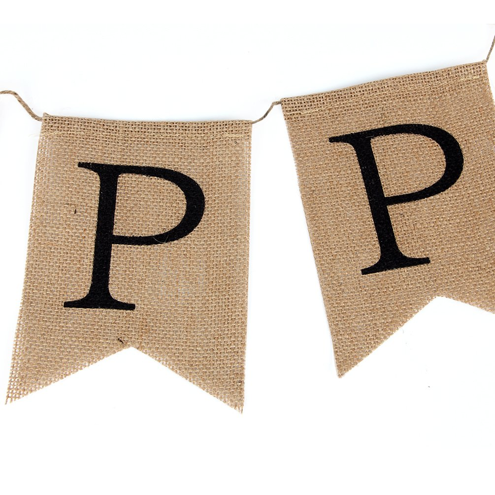 INNORU Burlap Happy Birthday Banner Rustic Birthday Party Bunting Banners
