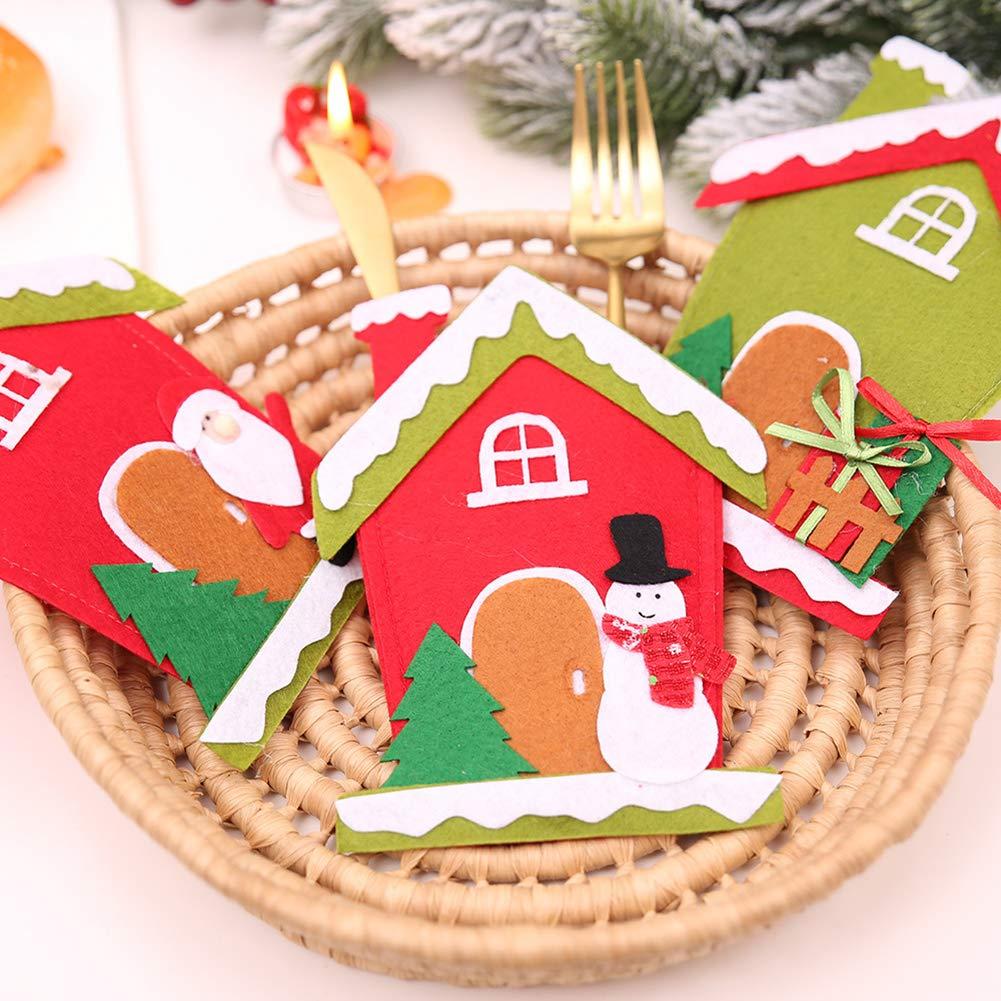 CHoppyWAVE Cutlery Pouch, Christmas Tree House Santa Elk Snowman Xmas Dinner Table Decor Spoon Knife Pouch - 4# by CHoppyWAVE (Image #6)