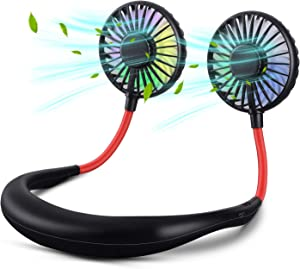 Neck Fan, XINBAOHONG Portable USB Rechargeable LED Fan Headphone Design Hand Free Personal Fan Wearable Cooler Fan with Dual Wind Head for Traveling Outdoor Office (Black)