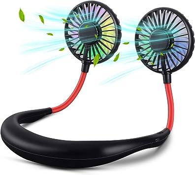 2Pack Black Headphone Design Wearable Neckband Fan Necklance Fan Cooler Fan with Dual Wind for Traveling Outdoor Office Room Hand Free Personal Fan,Portable USB Rechargeable Mini Fan