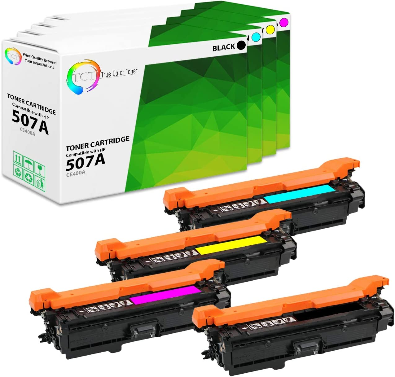 True Color Toner Compatible Replacement Toner Cartridge Replacement for HP CE400A( Black, Cyan, Yellow, Magenta , 4 pk )