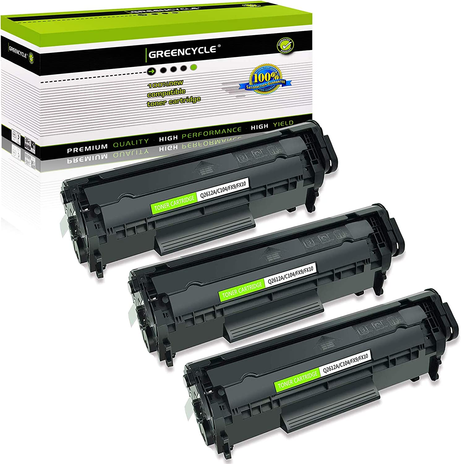 GREENCYCLE 3 PK Toner Cartridge Replacement Compatible for HP 12A Q2612A (Black) Laserjet 1010 1012 1018 1020 Printer
