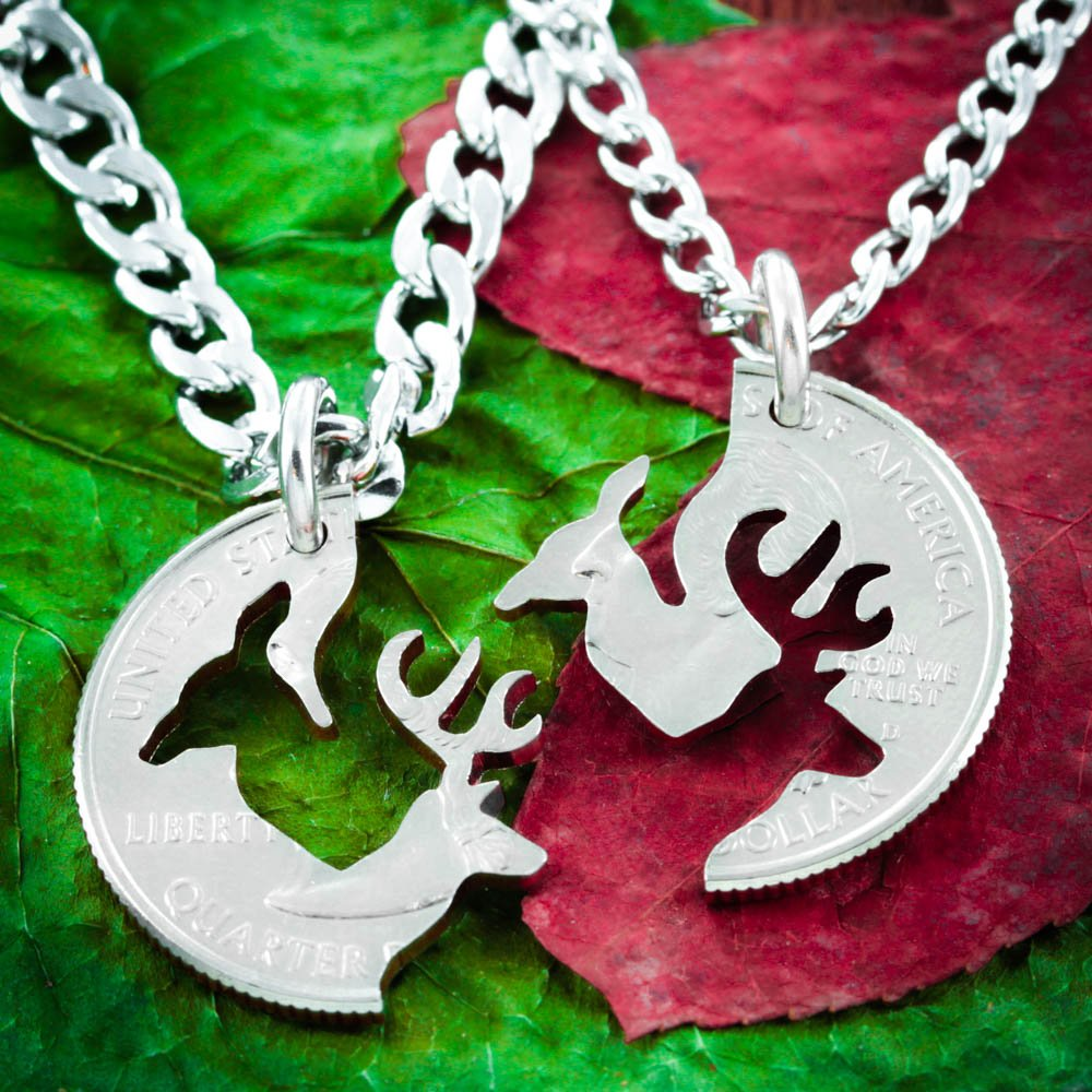 Amazon Buck And Doe Necklace Set For Couples Interlocking Cut