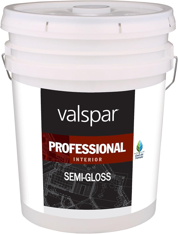 Valspar 11912 Medium Base Interior Professional Series Paint, 5 Gallon, Semi Gloss