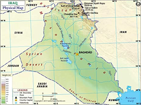 Amazoncom Iraq Physical Map Laminated 36 W x 2699 H