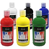 Artina Crylic 6 x 500ml Acrylfarben Set Farben - insg 3 Liter hochwertige Künstlerfarben Farbset Hobby-Künstler & Profis
