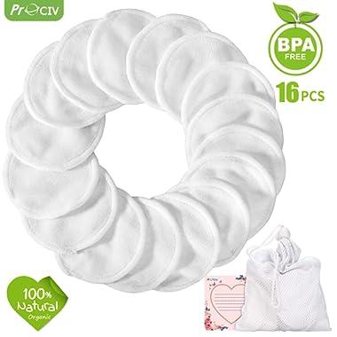 Reusable Makeup Remover Pads - Organic Cotton Rounds Soft Bamboo Toner Pads with Laundry Bag, 16 Pcs