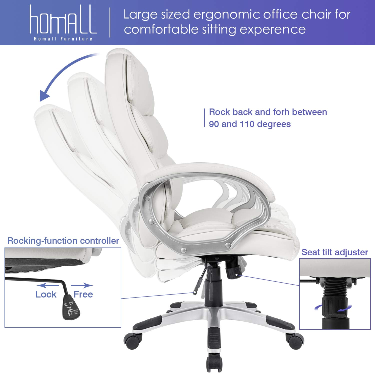 Homall Office Chair High Back Computer Desk Chair, PU Leather Adjustable Chair Ergonomic Boss Executive Management Swivel Task Chair with Padded Armrests (White) by Homall (Image #5)