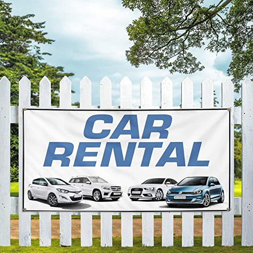 Amazon Com Vinyl Banner Multiple Sizes Car Rental Auto Vehicle C Business Outdoor Weatherproof Industrial Yard Signs White 4 Grommets 24x36inches Office Products