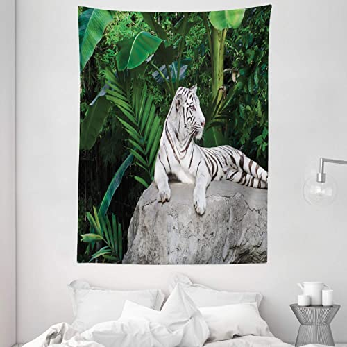Ambesonne Safari Tapestry, White Tiger Setting on Stone Tropic Plants Leaves Wild Jungle Majestic, Wall Hanging for Bedroom Living Room Dorm, 60 X 80 , Beige Green