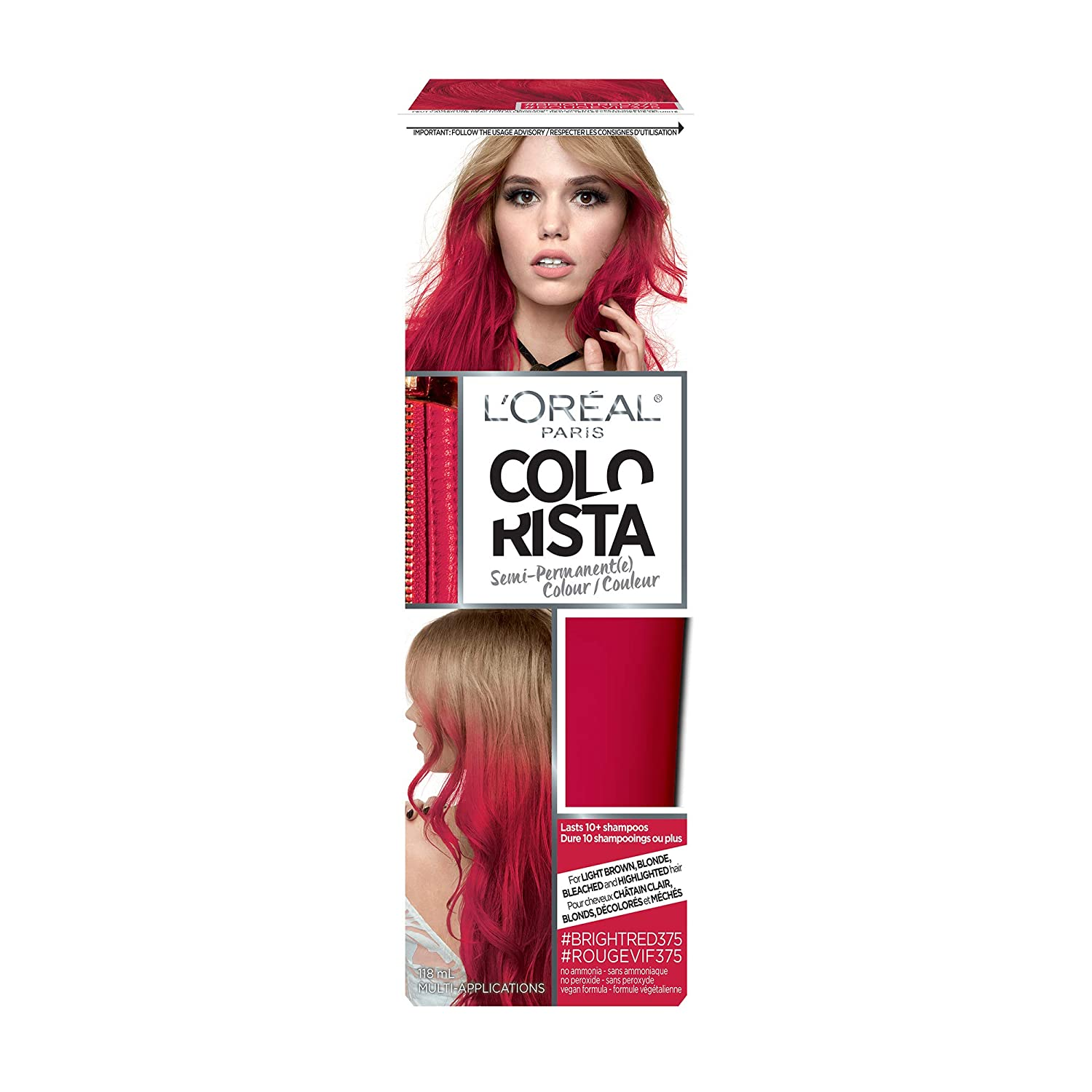 L'Oreal Paris Colorista Semi-Permanent Hair Color for Platinum, Light & Medium Blondes, Bleached hair or Highlighted Hair, Bright Red