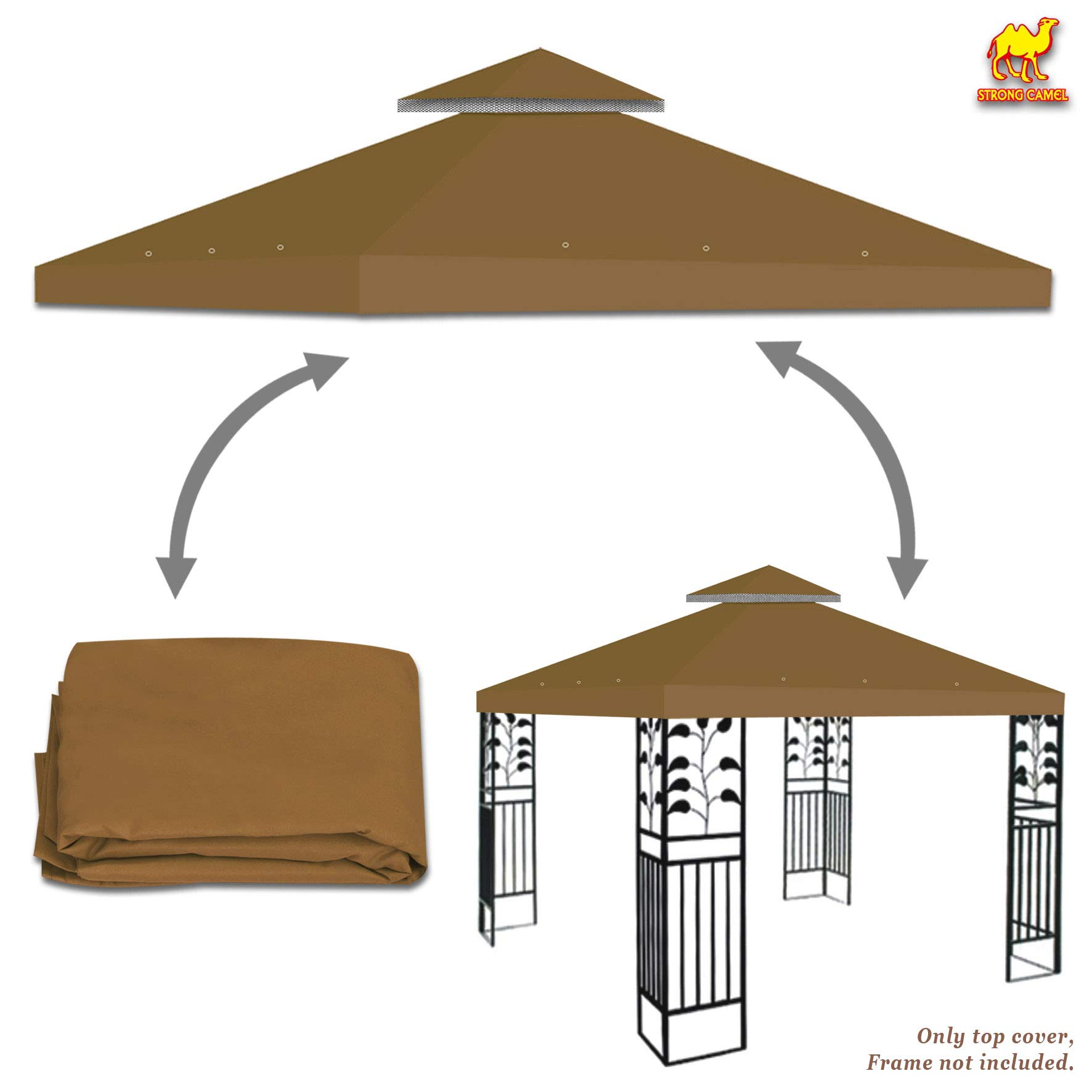 Strong Camel Dual Tier Gazebo Replacement 10' x 10' Canopy Top Cover Awning Roof Top Cover (Tan) (Brown)