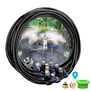 """Outdoor Patio Cooling Mist System, 1/4-inch 26.2FT (8M) Misting Line, 9 Brass Mist Nozzles,Metal Brass Adapter(3/4"""") for Garden Greenhouse Trampoline"""