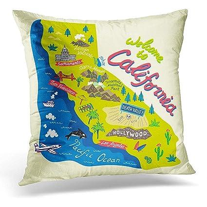 California Map Cartoon.Amazon Com Decorative Pillow Cover Angeles Cartoon Map Of