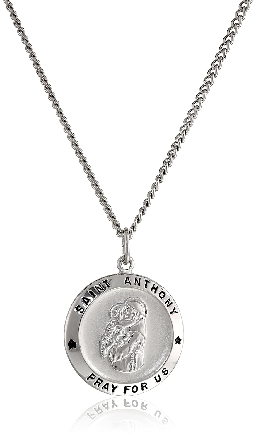 Sterling Silver Round Saint Anthony Pendant Necklace with Rhodium Plated Stainless Steel Chain, 20""