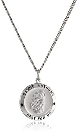 Amazon sterling silver round saint anthony pendant necklace sterling silver round saint anthony pendant necklace with rhodium plated stainless steel chain 20quot aloadofball Images