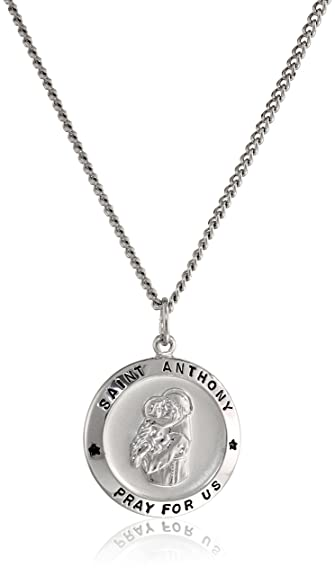Amazon sterling silver round saint anthony pendant necklace sterling silver round saint anthony pendant necklace with rhodium plated stainless steel chain 20quot aloadofball Choice Image