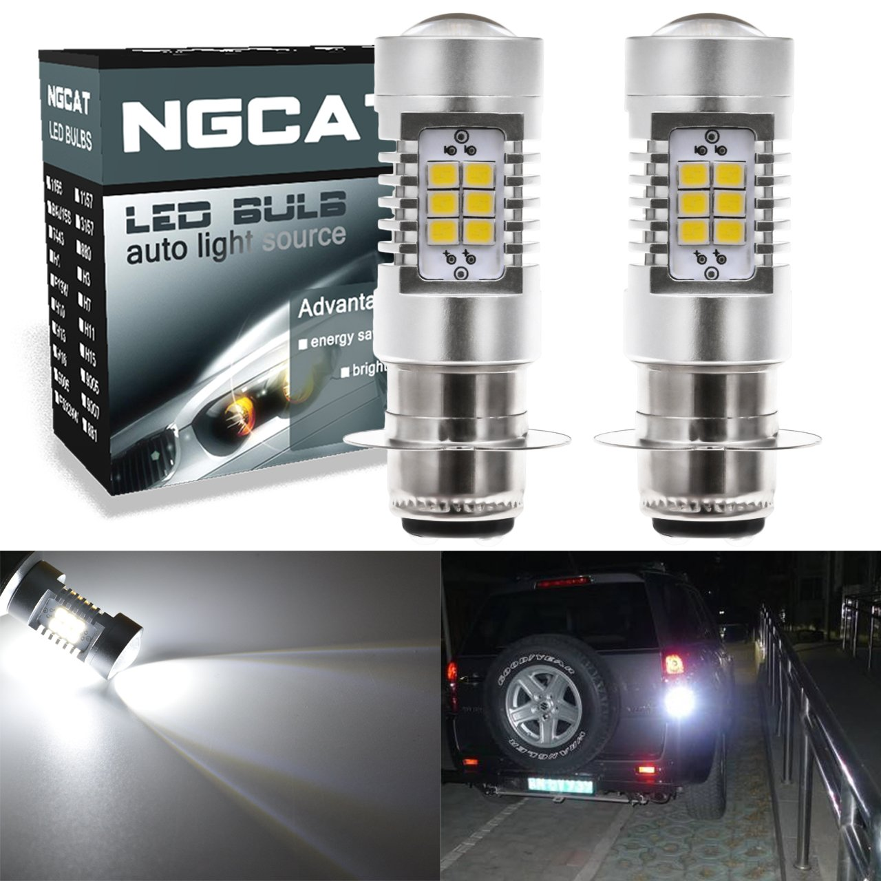 NGCAT Auto LED Bulb 2PCS P15D H6M Motorcycle Headlight DRL Special for Motorcycle LED Bulb 2835 21 SMD Chipsets LED Bulbs with Lens Projector Daytime Running Driving Light, Xenon White 10-16V 10.5W