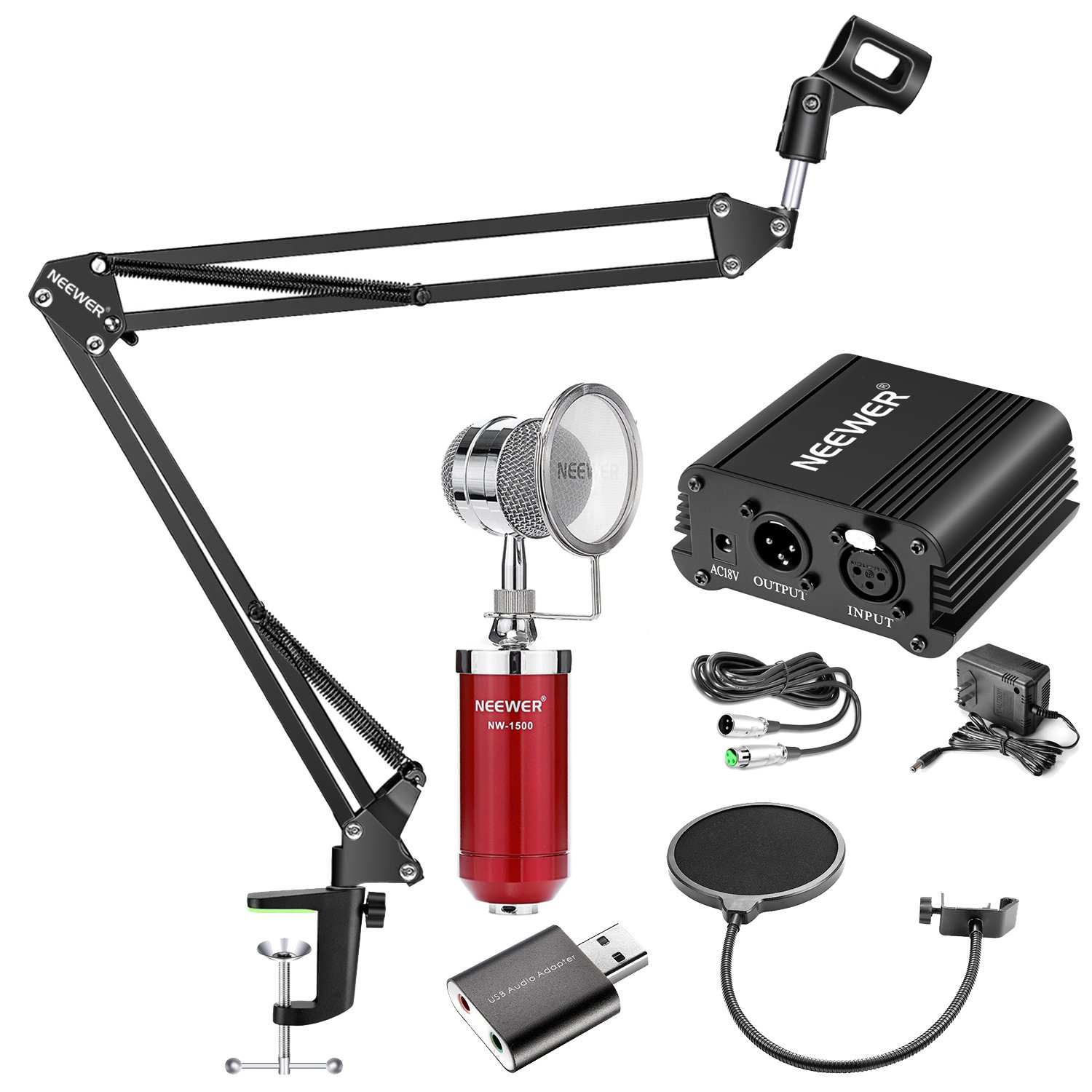 Neewer Condenser Microphone and Accessory Kit: NW-1500 Condenser Microphone (Red), NW-35 Suspension Boom Scissor Arm Stand,48V Phantom Power Supply, NW(B-3) Pop Filter and USB 2.0 Sound Adapter 90091701@@##1